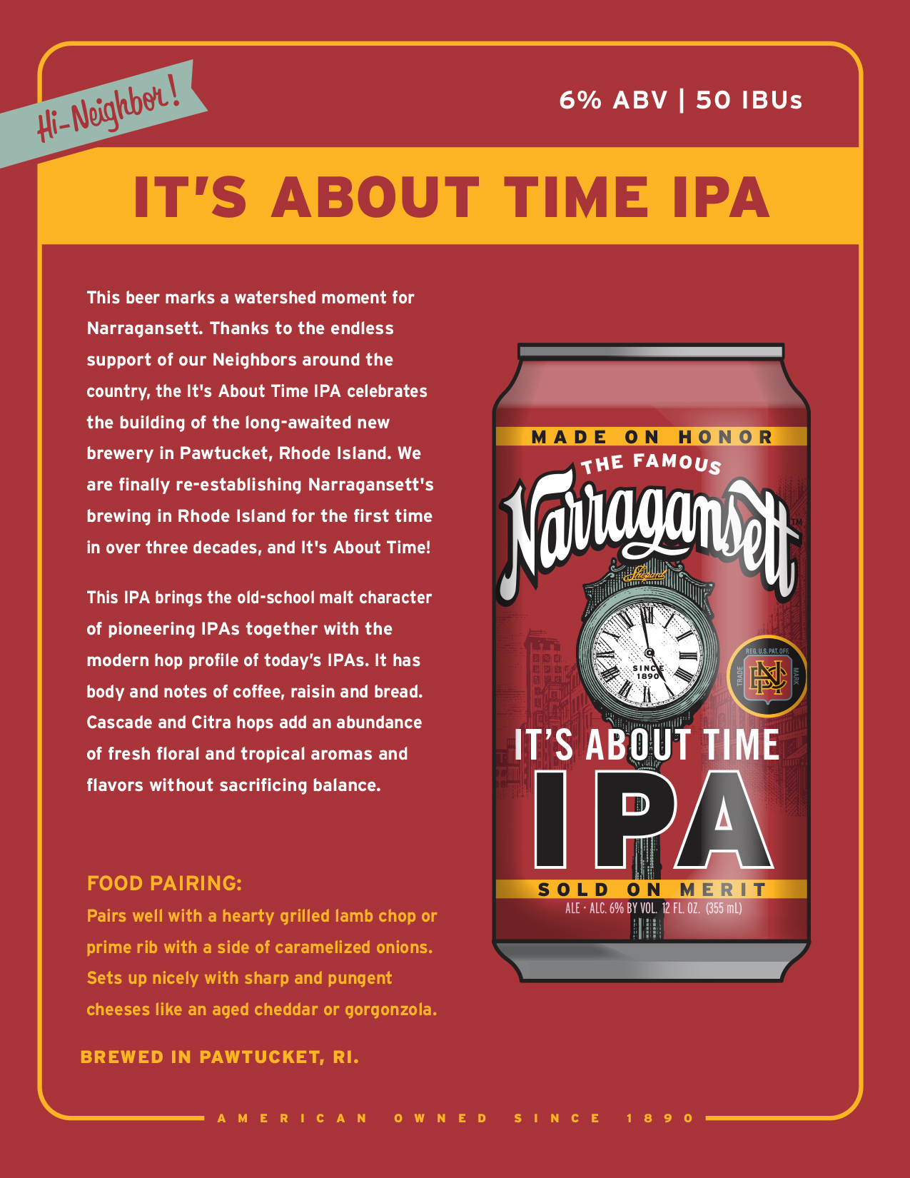 It's About Time IPA by Narragansett Beer