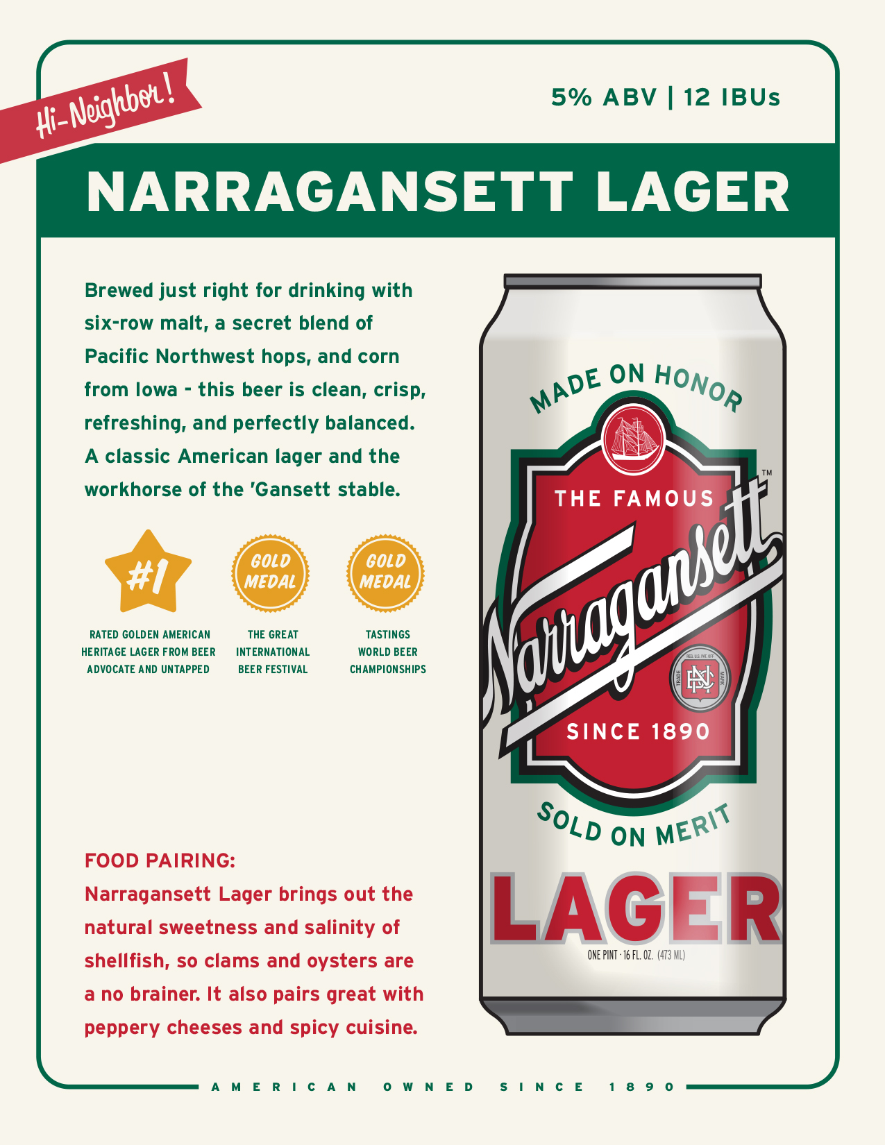Narragansett Lager. Original craft beer from New England.