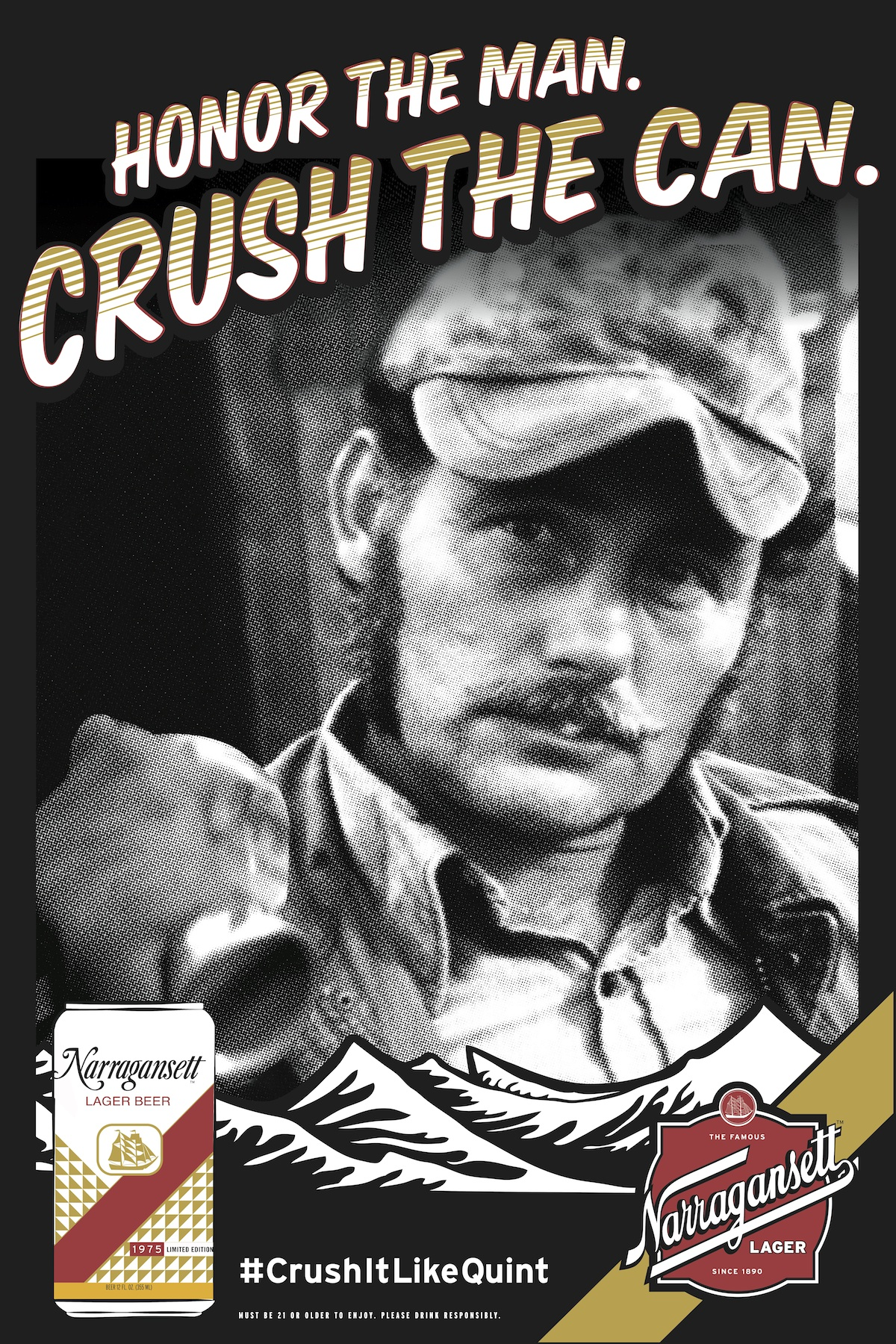 Narragansett Beer | #CrushItLikeQuint for Jaws 40th ... Crushed Beer Can
